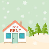 Winter resort. House for rent in the mountains. Vector illustrat. Ion Royalty Free Stock Images