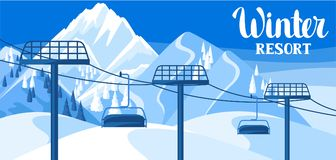 Winter resort illustration. Beautiful landscape with rope way. Snowy mountains and fir forest Royalty Free Stock Image