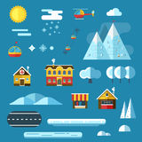 Winter Resort Landscape Creator Set. Winter resort creator collection. Abstract landscape constructor icons set. Signs for map, game, texture. Mountain hotel royalty free illustration