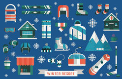 Winter Resort Sports Gear Icon Set Royalty Free Stock Photo