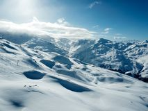 Winter resort valley drone view in French Alps Stock Photo