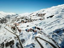 Winter resort valley drone view and road access Royalty Free Stock Images