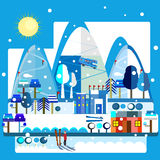 Winter resort. Vector illustration of a variety of winter activities in a snow resort in the mountains, flat graphic Royalty Free Stock Image