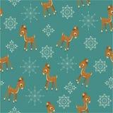 Winter retro baby deer seamless Stock Images