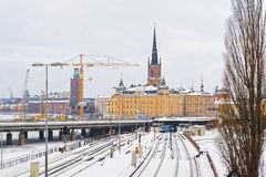 Winter Riddarholmen in Gamla Stan in Stockholm Stock Photography