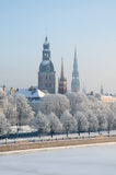 Winter in Riga, Lettland Lizenzfreies Stockbild