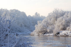 The winter river. Morning in the winter. Beautiful view of the snowy winter-river stock image