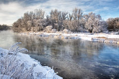 Winter river. With claer reflection Stock Image