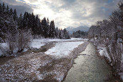 Winter river. Beautiful winter landscape of German Alps Royalty Free Stock Image