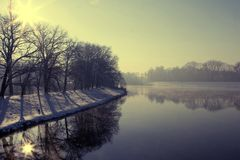 Winter river. Winter view on river in Poland - Odra Royalty Free Stock Photo