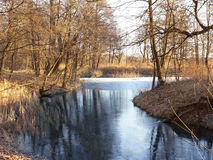 Winter river. First ice on winter river Royalty Free Stock Photos