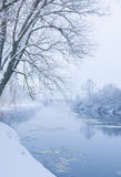 Winter river. When it is snowing royalty free stock image