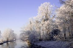 Winter river. Winterlandscape in the sun, featuring the small river 'Kromme Rijn Royalty Free Stock Photo