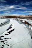 Winter river. With snow mountains in tibet,china Royalty Free Stock Photo