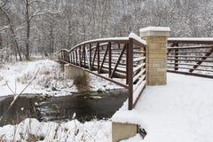 Winter River & Bridge Scenic Stock Photos