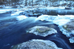 Winter river with deeply  blue water. A landscape Stock Image