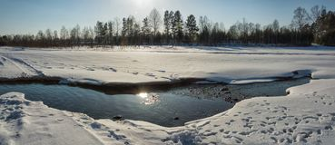Winter river does not freeze. Landscape. Winter landscape. Panoramic picture. The river does not freeze. In the evening stock photography