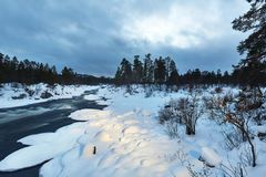 Winter River Flow royalty free stock image