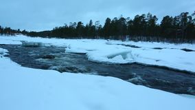 Winter River Flow stock footage