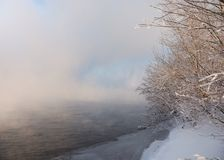 Winter river in fog Stock Photography