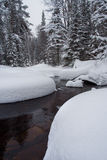 Winter river in the forest. Taganay. Russia Royalty Free Stock Photo