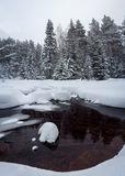 Winter river in the forest. Taganay. Russia Stock Images