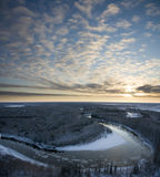 Winter river of freezing evening Stock Images
