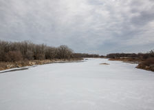 Winter river. Frozen ice on the snow convered river Stock Photography