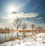 Winter river with the frozen shores Royalty Free Stock Image