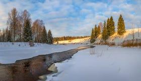 Winter river. Good New Year spirit. stock photo