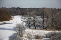The winter river from height. Royalty Free Stock Photos