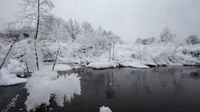 Winter river and hoarfrost. The river in the winter, is a lot of snow stock footage