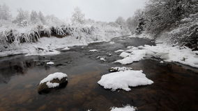 Winter river and hoarfrost. The river in the winter, is a lot of snow stock video
