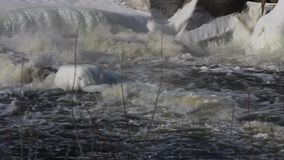 Winter river ice stock video footage