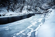 Winter river incomplete frozen. Seasonal nature lanscape background winter river incomplete frozen stock photography
