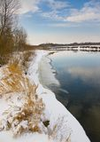 Winter river in January. Nature composition stock photos
