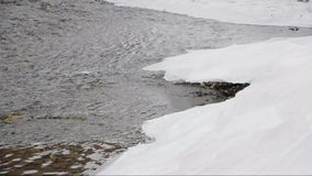 Winter river. The river in winter kept flowing under the ice stock video footage