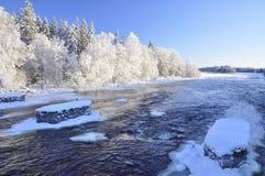 Winter river landscape stock image