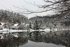 Winter River Landscape Covered by Snow, Czech Republic, Europe Stock Images