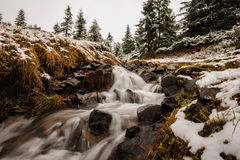 Winter river landscape in forest Royalty Free Stock Images