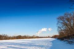 Winter river landscape Royalty Free Stock Images
