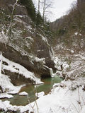 Winter river landscape with a mountain Royalty Free Stock Image