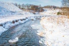Winter river landscape Stock Photos