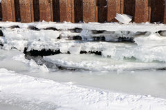 Winter river mooring with ice and snow melt water Royalty Free Stock Image
