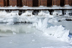 Winter river mooring with ice and snow melt water Royalty Free Stock Photography