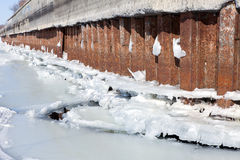 Winter river mooring with ice and snow melt water Stock Images