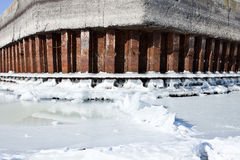 Winter river mooring with ice and snow melt water Royalty Free Stock Photo