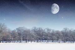 Winter river at night. Royalty Free Stock Images