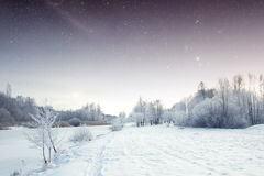 Winter river at night. Elements of this image furnished by NASA Royalty Free Stock Image