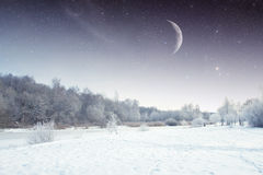 Winter river at night. landscape of Eastern Europe Stock Image